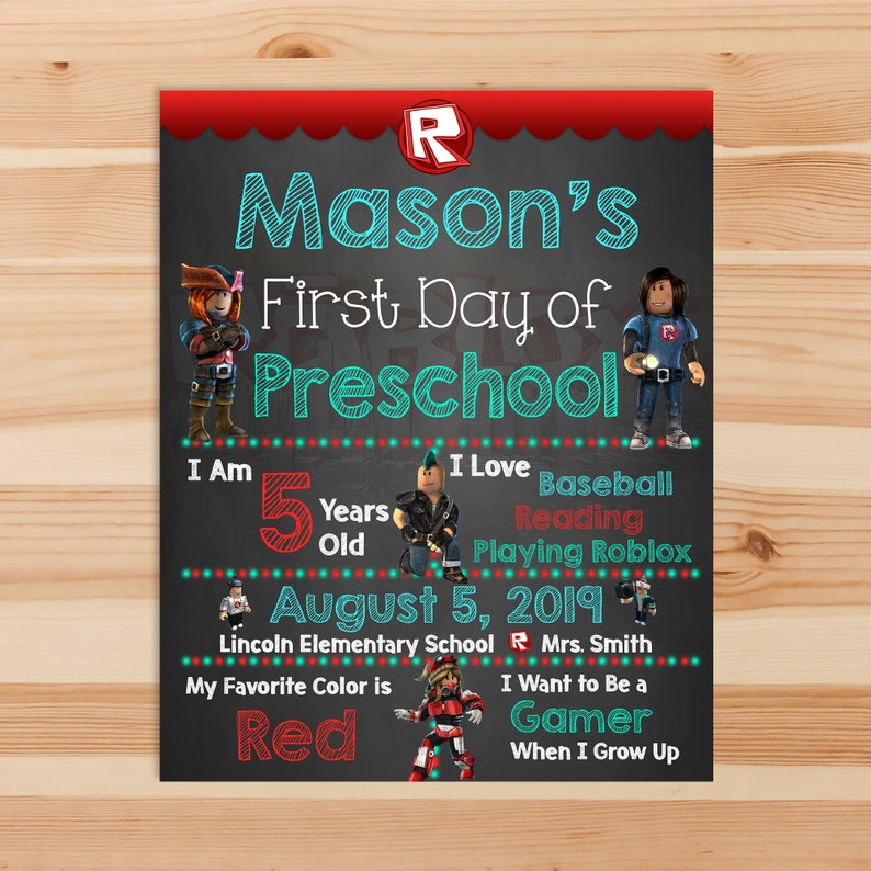 Roblox First Day of School Sign - 1st day of School Chalkboard Sign - Kindergarten Prek Preschool - 1st day School Printable Sign - 100972