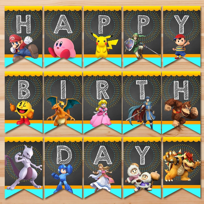 Super Smash Brothers Ultimate Birthday Banner - Super Smash Brothers Banner  Bunting - Super Smash Brothers Party Printables 100898