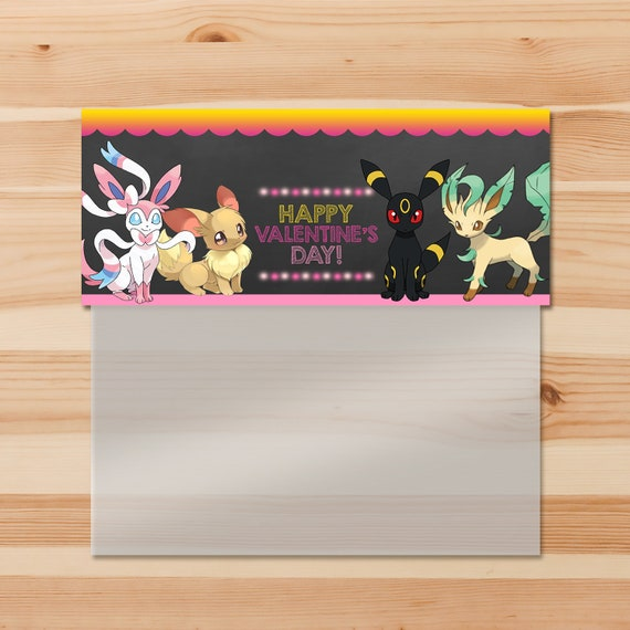 Eevee Evolutions Day Treat Bag Topper - Pink - Girl Pokemon Eevee Candy Bag Topper - Girl Pokemon Party - Pokemon Ziptop Topper - 100760