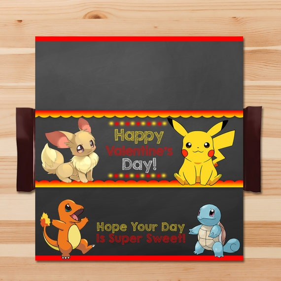 Pokemon Valentine's Day Candy Wrapper - Red - Red Pokemon Pikachu Candy Bar Wrapper - Pokemon Party - Pokemon Chocolate Bar Wrap - 100570