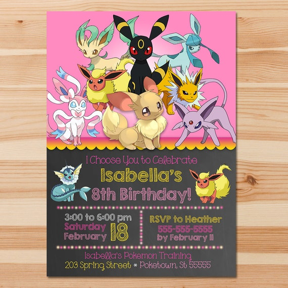 Pokemon Birthday Invite Eevee Evolutions Pink Girl