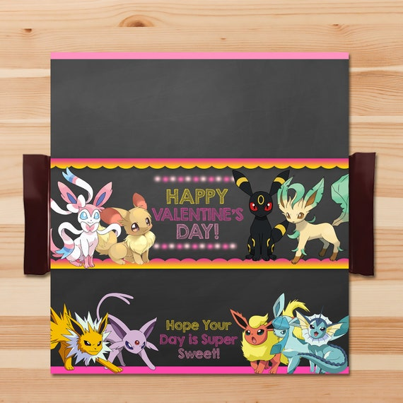 Eevee Evolutions Valentine's Day Candy Wrapper - Pink - Girl Pokemon Eevee Candy Bar Label - Girl Pokemon Party - Pokemon Chocolate - 100760