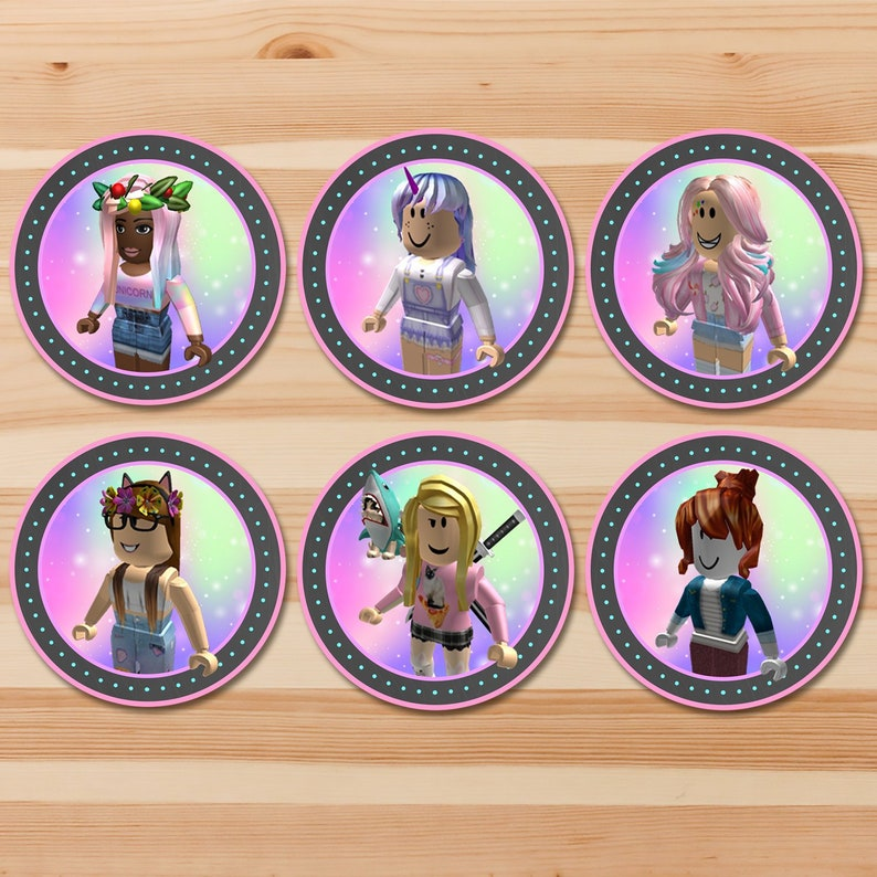 Girl Roblox Cupcake Toppers - Pink Roblox Stickers - Roblox Birthday Party - Roblox Party Printables - Roblox Party Favors - 100925