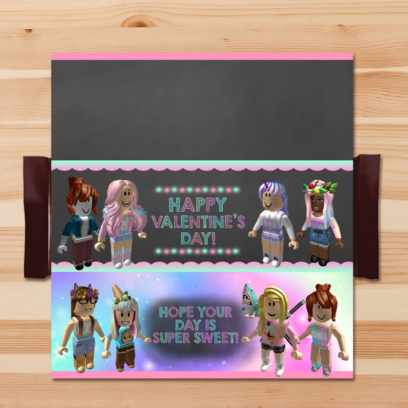 Girl Roblox Valentine's Day Candy Wrapper - Roblox Valentines Candy Bar Wrapper - Roblox Party Printables - School Valentine's Day - 100565