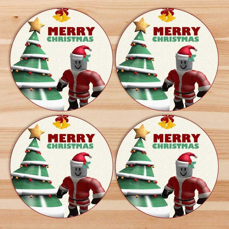 Roblox Christmas Stickers - Roblox Christmas Gift Tags - Santa Roblox Holiday Tags - Roblox Holiday Party - Roblox Printables - 101039