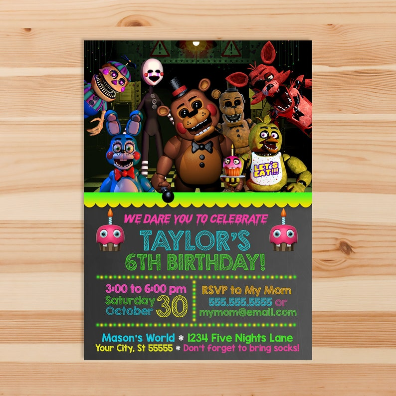 Five Nights at Freddy's Birthday Invite - Chalkboard - 5NAF Invitation - 5 Nights at Freddys Party Printables - 5NAF Party Favors - 100951