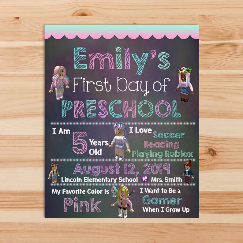 Girl Roblox First Day of School Sign - 1st day of School Chalkboard Sign - Kindergarten Preschool - 1st day School Printable Sign - 100981
