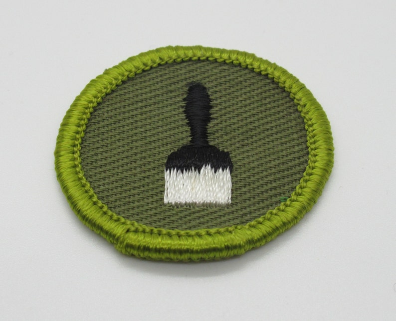 1961-1968 Khaki Rolled Edge Sew On Merit Badge Patch Boy Scout Painting Type F