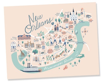 New orleans art map | Etsy