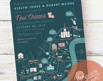 Custom Wedding Map, Wedding Invitation, Save the Date, RSVP card, Itinerary, Printable File - New Orleans, LA - Any Location