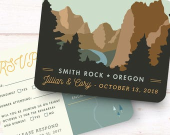 Location Themed Reply Card, Itinerary Map, Printable File - Wedding Invitation - Mountain Wedding - Any Location