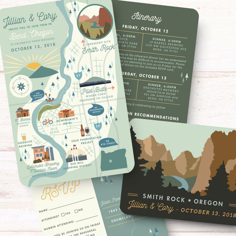 Map Invitation Suite, Save the Date, Reply card, Itinerary, Printable File  - Wedding Invitation - Bend, Oregon - Any Location