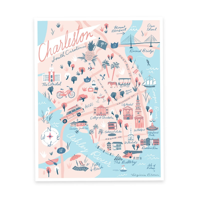 Charleston Map Print - Charleston, South Carolina - Rainbow Row, Downtown, on san francisco beaches map, orlando beaches map, miami beaches map, outer banks nc beaches map, loews miami beach map, atlantic city nj beaches map, wilmington beaches map, tampa beaches map, melbourne fl beaches map, atlanta beaches map, savannah beaches map, jacksonville nc beaches map, long island ny beaches map, alabama beaches map, boston beaches map, hilton head sc beaches map, seattle beaches map, cape coral fl beaches map, los angeles ca beaches map, myrtle beach beaches map,