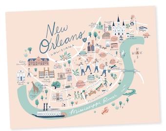 New Orleans Map Print - New Orleans, Louisiana - Jackson Square, Garden District, French Quarter, Tulane, Loyola, Audubon, Preservation Hall