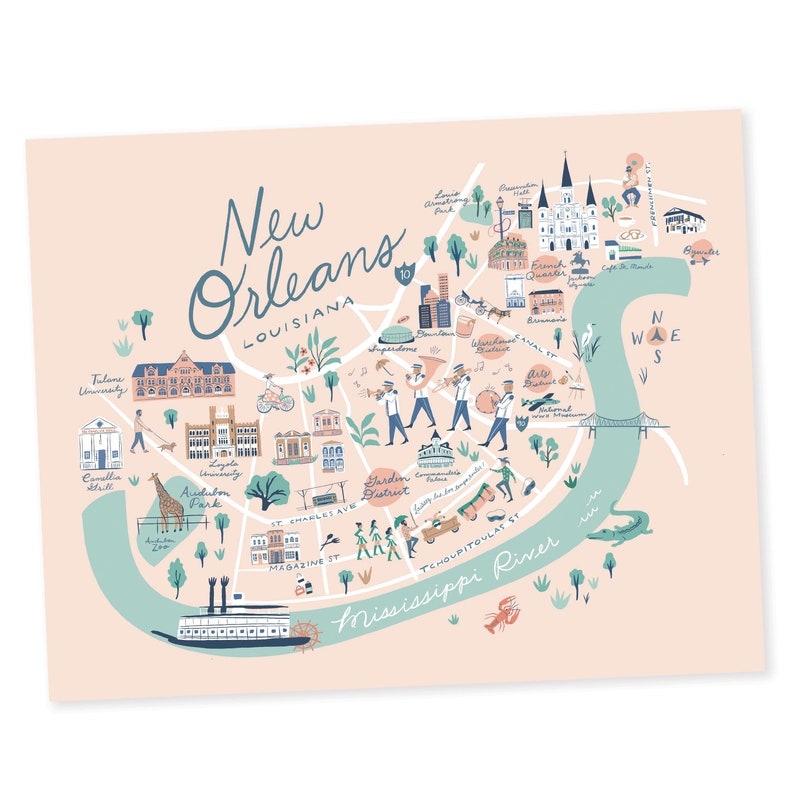 picture relating to French Quarter Map Printable known as Clean Orleans Map Print - Fresh new Orleans, Louisiana - Jackson Sq., Yard District, French Quarter, Tulane, Loyola, Audubon, Preservation Corridor