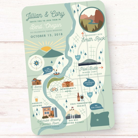 Custom Wedding Map Wedding Invitation Insert Save The Date Etsy