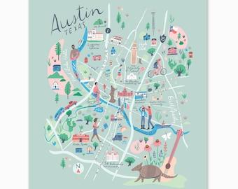 Austin Map Print - Texas - University of Texas, South Congress, Willie Nelson, Lake Austin, Ladybird Lake, St. Edwards, Barton Springs Pool