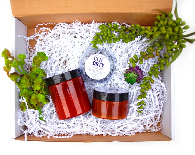 Featured listing image: Hydra Mask + Black Soul Bath Bomb + Glow Body Scrub Gift Set