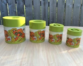 Vintage 1960s Canister Set, Vintage Metal Canisters, Nesting Tin Kitchen Canister Set, Butterflies, Mod Flower, Kitchen Storage
