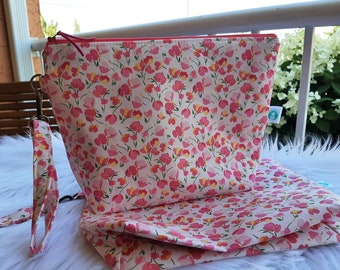 Dainty Pink Flowers Large Project Bag