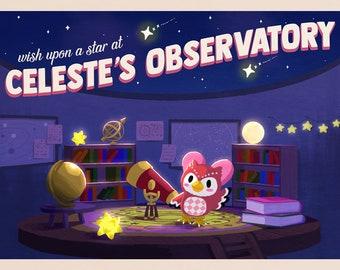 Celeste's Observatory Animal Crossing Mini Print/Postcard