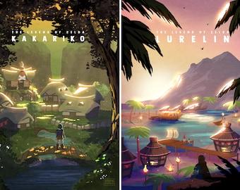 Legend of Zelda Village Hyrule Travel Destination Prints Posters