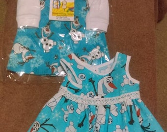American Girl Doll Olaf Overalls, and Summer Dress with Panties