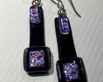 Earrings – Purple and Black Dichroic Fused Glass Earrings