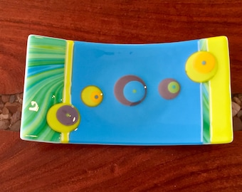 Fused Glass Plate – Blue, Green & Yellow Sushi Tray