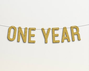 Personalised 1st Birthday Custom Banner ONE YEAR Golden Glitter #55