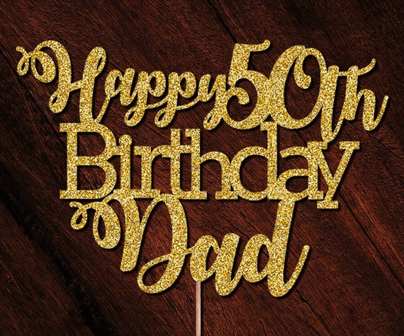 Date Custom Cake Topper Happy 50th Birthday Glitter Any Words Free UK P/&P