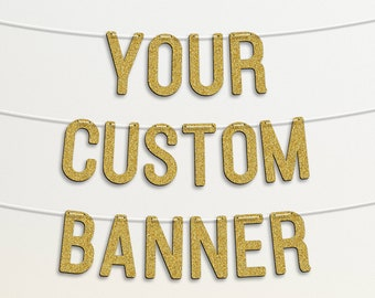 """Personalised Bunting Custom Banner 7"""" Garland Party Decorations GARLAND Glitter Rose Gold #15"""