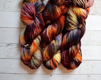 hand dyed yarn | dk weight yarn | dk yarn | 100% Superwash merino | merino wool | Sweater Yarn | speckled yarn | Purple | Plentiful Bounty