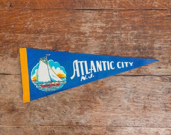 Burgundy Vintage Atlantic City Felt Pennant 12/'/'x5/'/' Convention Hall