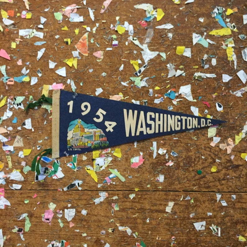 Washington D C Green Felt Pennant Vintage Wall Hanging Decor