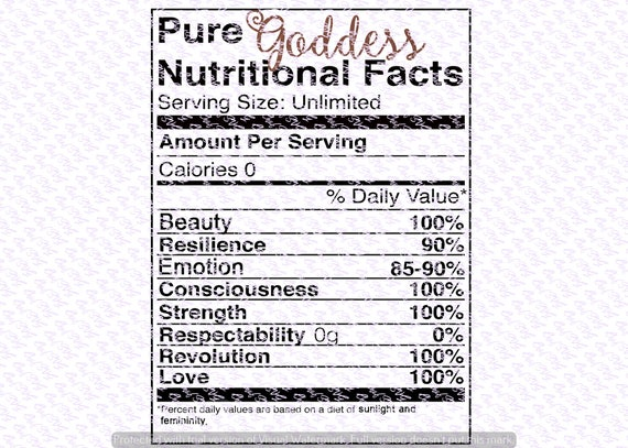 Pure Goddess Nutritional Facts Svg Quote Quote Overlay Svg Etsy