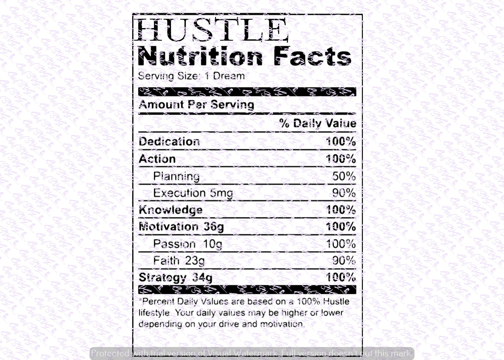 Hustle Nutritional Facts Svg Quote Overlay SVG Vinyl