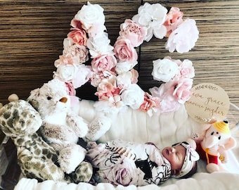 Newborn Photo Prop 1st Birthday Baby Photo Prop Floral Letter Flower Letter Baby Girl Gift Baby Girl Photo Baby Girl Nursery Decor Girl Room