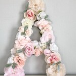 Flower Letter, Floral Letter, Floral Number, Flower Number, Blush Nursery Decor, Shabby Chic Decor, Floral Nursery, Baby Shower, Flower Wall