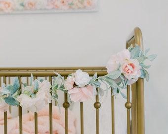Floral Garland, Girl Nursery Wall Hanging Nursery Decor Wall Art, Flower Garland, Baby Shower Decoration, Shabby Chic Baby, Boho Garland