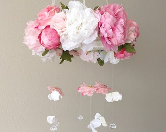 Floral Mobile, Flower Mobile, Baby Girl Mobile, Pink Mobile, Baby Mobile, Baby Shower Gift, Pink Nursery Decor, New Baby Gift, Pink, White