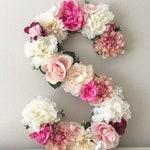 "Floral Letter 15"" 19"" 24"", Large Flower Letter, Floral Initial, Custom Floral Letter Nursery, Shabby Chic Decor, Floral Monogram"