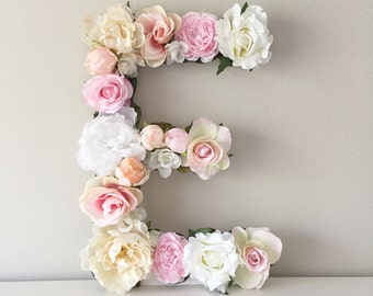 "Large Floral Letter, Large Flower Letter, Floral Monogram, Floral Number, Shabby Chic Decor, Vintage Wedding, Girl Nursery Letter, 19"" 24"""
