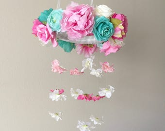Floral Mobile, Flower Mobile, Nursery Mobile, Girl Mobile, Baby Mobile, Large Mobile, Pink and Teal Nursery, Whimsical Mobile, Pink Mobile