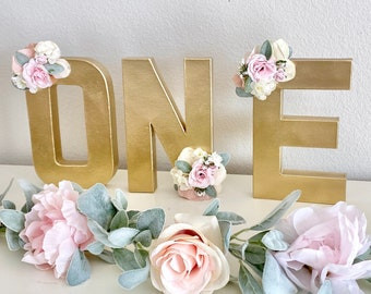Gold First Birthday Party Table Decoration Rose Gold ONE Centerpiece 1st Birthday Decoration Party Decoration 1st Birthday Girl ONE Sign
