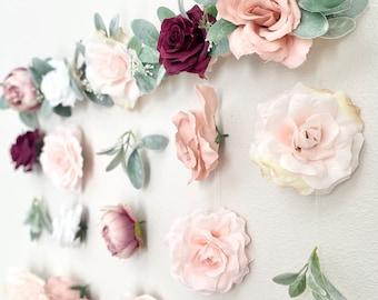 Blush Burgundy Flower Wall Decor Blush and Burgundy Wedding Decor Floral Wedding Backdrop Girl Nursery Wall Peony Wall Decor Nursery Girl