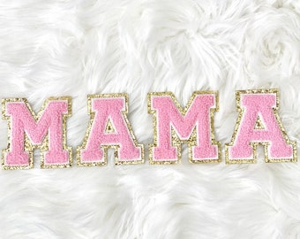 MAMA Letter Patches Sew On Iron On Chenille Patch Baby Shower Decor Mom Gift for Mom Decor Baby Shower Mama Jacket Patch Mama Shirt