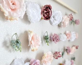 Boho Girl Nursery Decor Boho Nursery Wall Decor Flower Wall Hanging Boho Baby Shower Flower Decor Boho Bridal Shower Decor Nursery Peony