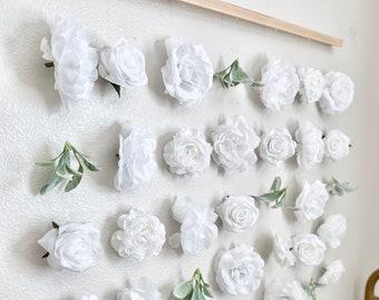 White Nursery Decor Girl Nursery White Girl Room Decor White Flower Wall Wedding Ceremony Backdrop Bridal Shower Decor Boho Bachelorette