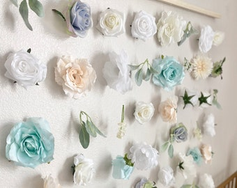 Pink and Mint Nursery Decor Girl Flower Wall Nursery Floral Nursery Decor Aqua Nursery Wall Decor Bridal Shower Decor Baby Shower Decor Girl